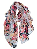 GERINLY Scarves for Women Bright Florals Fashion Head Scarf Cotton Wraps and Shawls (White)