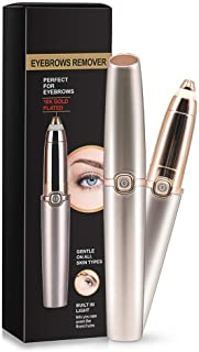 Eyebrow Hair Remover Painless Eyebrow Trimmer Epilator for Face Lips Facial Portable Eyebrow Razor with Light for Women Men (Gold)