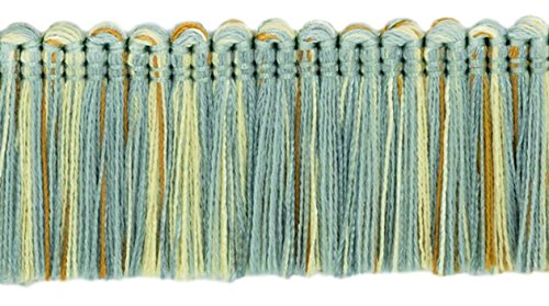 DÉCOPRO 5 Yard Value Pack of Brush Fringe Trim|1 3/4 inch (45mm)|Style#: 0175HB|Color: 5939 (Silver Blue, Gold, Off White - Island Breeze)