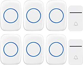 Self-Powered Wireless Doorbell, 2 Button and 6 Receivers, 3 Volumes, 38 Melody Options, 200M Remote Doorbell, IP44 Waterpr...