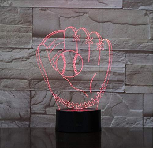 3D-baseball-handschoen Catcher pitcher handschoenen tafellamp linker hand softbal handschoenen kleurrijk nachtlicht slaapkamer decor kinderen geschenken afstandsbediening Bluetooth control kleur