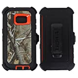 Heavy Duty Defender Impact Rugged with Built-in Screen Protector Camouflage Case Cover with Clip for Samsung Galaxy S7 (Orange-Tree-Camo)