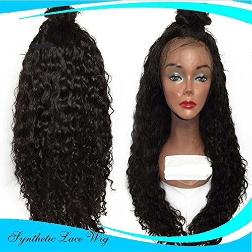 MZP Long Naturalwig Cheveux bouclés, perruque de cheveux ondulés Perruque de main de moitié de dentelle avant Femmes Party perruques synthétiques , 14 inches