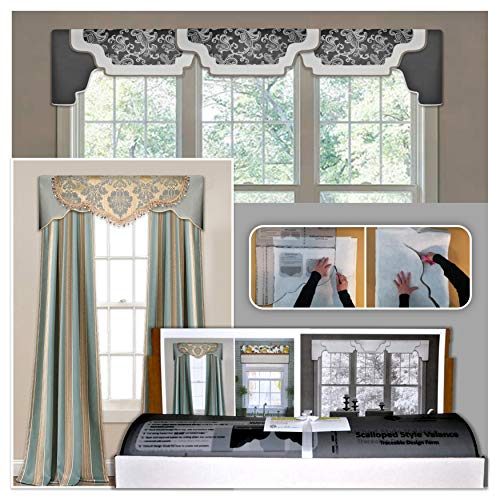 DIY Valance Kit, No Sewing, 3 Styles in One Kit, Fit All Window Sizes, Including Bay Windows, Reusable, Pattern, No-Sew Room Decor, Bedroom, Living Room, Dining Room, Kitchen Curtain (Valance Kit)
