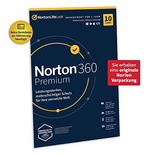 Norton 360 Premium 2021 | 10 Geräte | Antivirus | Unlimited Secure VPN & Passwort-Manager | 1 Jahr | PC/Mac/Android/iOS | Aktivierungscode in Originalverpackung