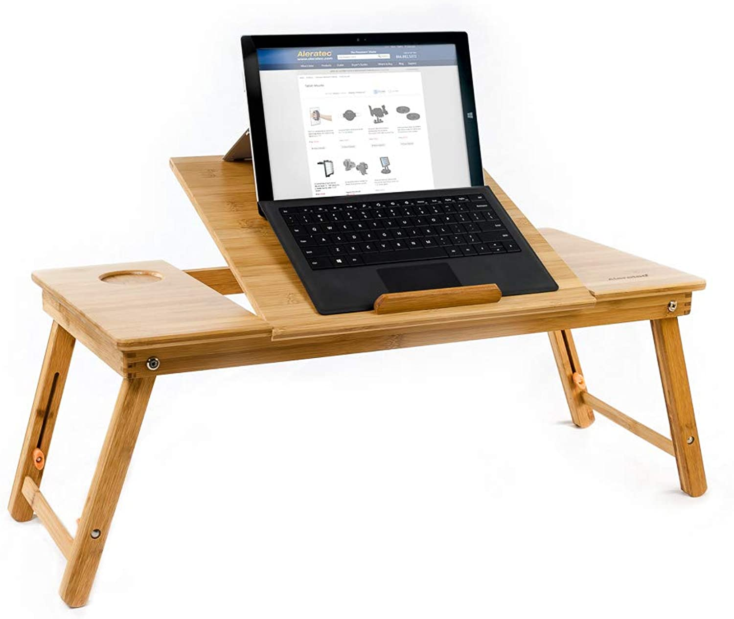 Aleratec Natural Bamboo Tablet Laptop Cooling Stand W Fan Table Desk Up To 15in