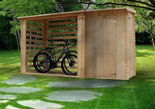 Timbela M205 Abri De Jardin En Sapin Chalet Pour Vélosbucherabri Conteneur Cabane De Jardin Avec Toit Plat 344 X 130 Cm 254 M211 M2
