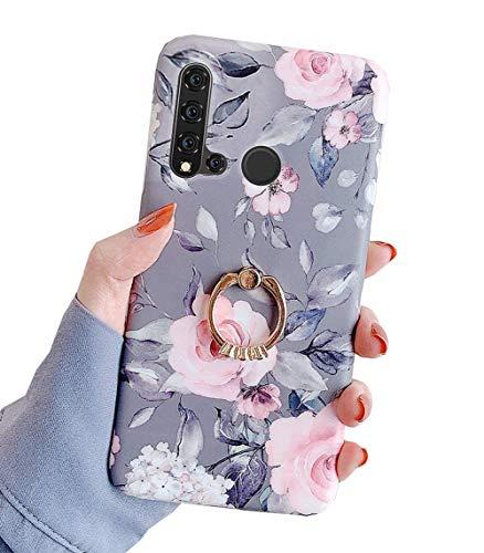 Karomenic Silikon Hülle kompatibel mit Huawei P20 Lite Ultradünn Schutzhülle Blumen Blatt Muster Weiche TPU Handyhülle mit Ring 360 Grad Ständer Stoßfest Bumper Case Cover Tasche Schale,#1
