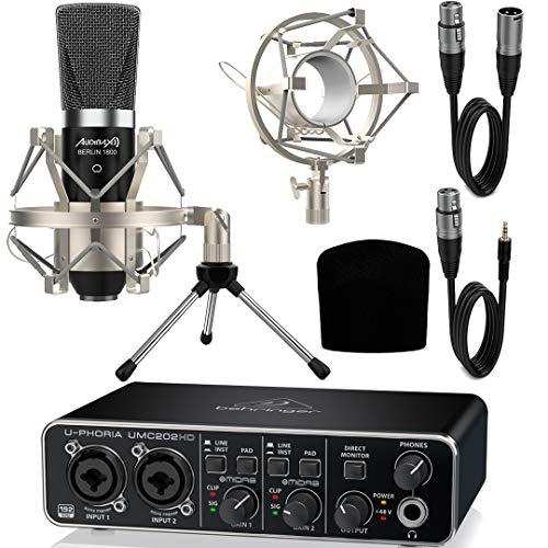 Behringer UMC202HD Interface Audio con Micrófono Estudio Berlín 1800 + Accesorios