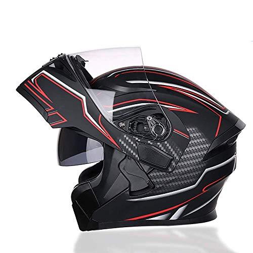 XYXZ Cascos Integrales De Motocicleta Casco Modular Abatible Cascos De Motocicleta para Hombres Y Mujeres, Casco Modular De Choque De Motocicleta con Visor Doble Antivaho Cascos De Motocicle