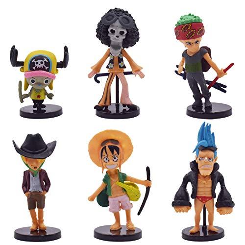 Cake Topper - YUESEN 6pcs One Piece Mini Juego de Figuras Niños Mini Juguetes Baby Shower Fiesta de cumpleaños Pastel Decoración Suministros
