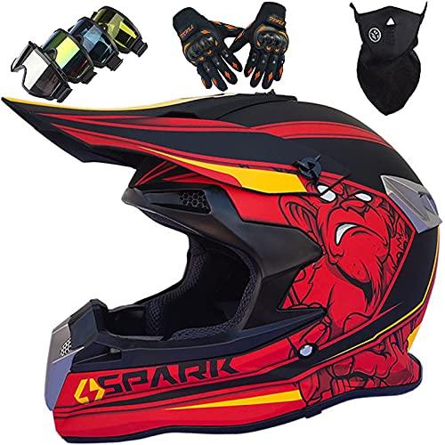 Casco de Motocross para Niño Adultos y Jóvenes con Gafas Guantes Máscara, Cuatro Estaciones, Unisex, Casco Downhill Enduro ATV MTB BMX Quad Motocicleta Offroad para Hombres y Mujeres