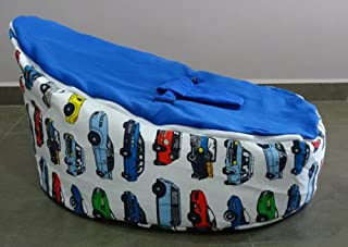 Baby Bean Bag Chair Pre Filled with Removable Covers  amp  Harness Blue Cars for Kids