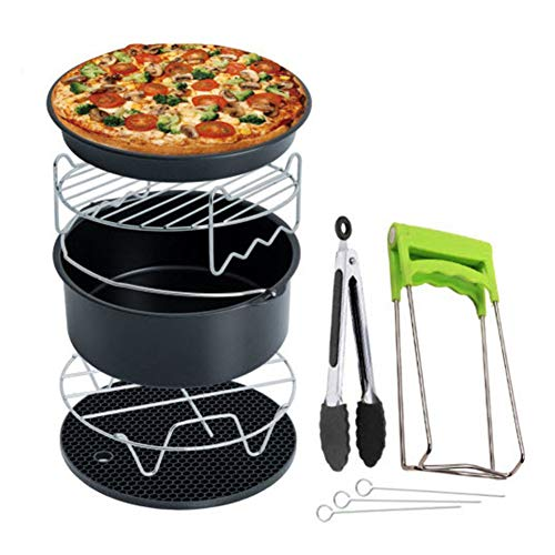 Air Fryer Accessories 7pcs/set Stainless Steel Kitchen Pot Holder Food Clip Pizza Pan Tool Basket Cake Double Layer Grill Universal 3.5 To 5.8QT Baking Basket Home 7inch