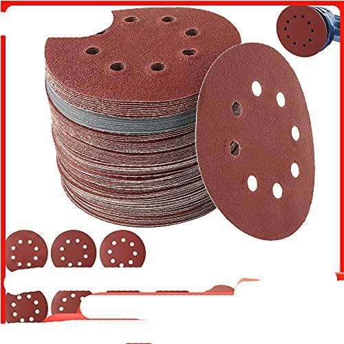 100 piezas de papel de lija de 125 mm, discos de lijado de forma redonda, gancho de bucle, papel de lijado, hoja de pulido, papel de lija, lijadora de 8 orificios, almohadilla de pulido-China