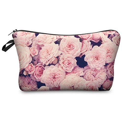 Trousse Scolaire Sac a Crayon Trousse de Toilette Trousse en Cuir Plumier Organisateur Trousse a Maquillage Vintage Roses Pink Blumenmuster [009]