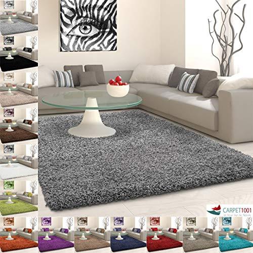 Hochflor Langflor Shaggy Teppich Uni Farbe Verschiedene Größen und Farben - Grau, 200x290 cm