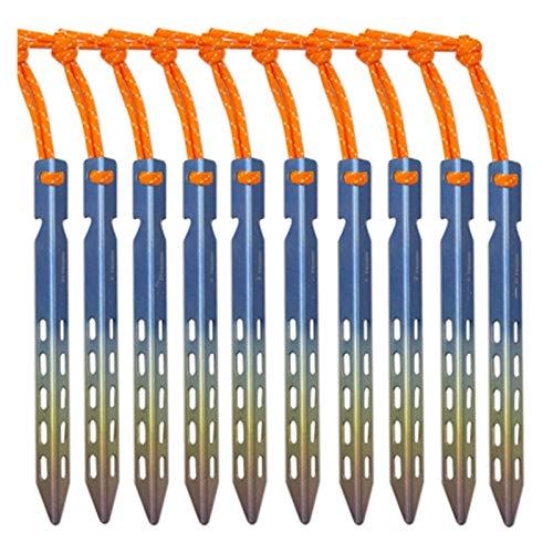 Clavija de tienda Tienda de titanium estaca 6/10 unids / lotes colorido titanio V forma a prueba de viento al aire libre campaña de campaña de campaña de colilla de clavos con cuerda al aire libre par