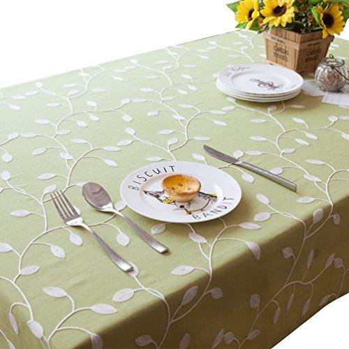 NiSeng Tovaglia da tavolo in poliestere Tovaglia ricamata Tovaglie antimacchia rettangolare quadrata per ristoranti Verde 140x220 cm