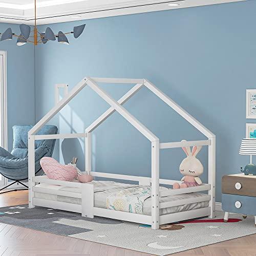 GBHJJ Cama Infantil Tipo Montessori, Cama para NiñOs de Pino 200 X 90 Cm Cama Infantil Forma de Casa en Color Blanco Menta - Cunas de ProteccióN contra CaíDas de 3 a 9 AñOs para NiñOs y NiñAs