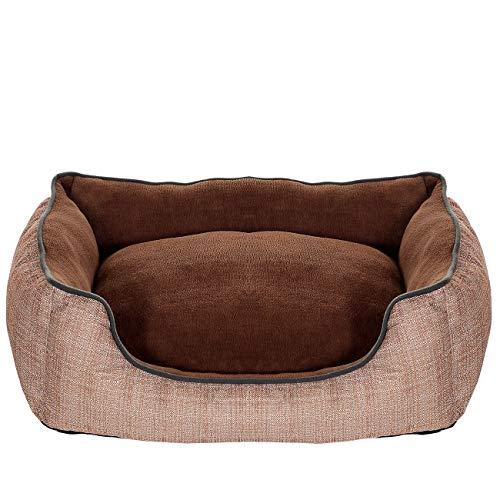 PET VIOLET Hundebett und kuscheliges Hundekissen, Wendbar, 63x46x18 cm, Braun