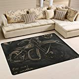 JSTEL Waschbare Weiche Vintage Boy Motorrad Teppich 90 x 60 cm (2 x 3 Fuß) Wohnzimmerteppich...