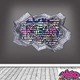 Personalisiert 3D Multi Farbe Graffiti Personalisierter Name Ausgebrochenes Ziegelstein Optik Wand Kunst Aufkleber mit Grauer Bordüre für Teenager Mädchen und Jungen WSDPGN122