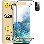 [2+1Pack] Galaxy S20 Screen Protector and Camera Lens Screen Protector Compatible Fingerprint Full Coverage Bubble-Free 9H Scratch-Resistant HD Clear 3D Curved Tempered Glass for Samsung Galaxy S20