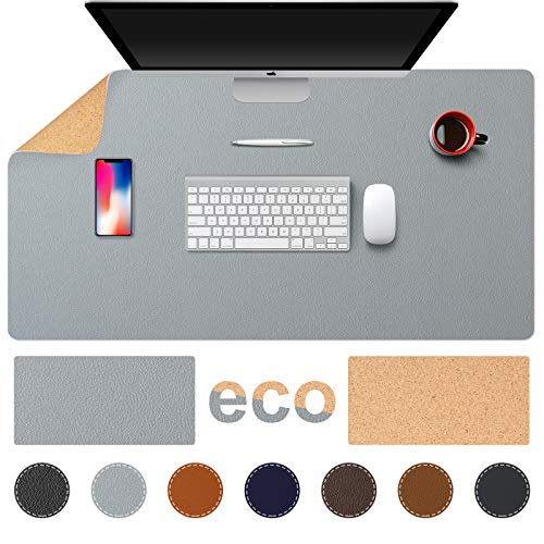 TESOBI Large Natural Cork & Leather Desk Pad, 39'x20' Double-Sided Desk Protector, Smooth Surface Mouse Pad, Waterproof Desk Mat for Office/Home/Gaming (39' x 20' Light Gray)