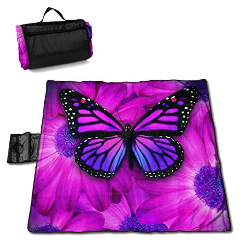 GuyIvan Strand Picknick Decke Lila Schmetterling Blume Handy Matte Tragbare Tasche Wandern Quick Dry Bag