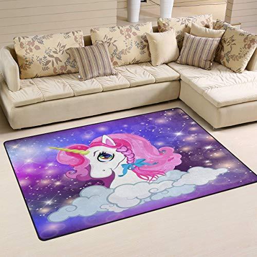 Marlon Kitty Unicorn Head Pink Night Sky Alfombra Alfombra de Piso Alfombra Lavable Decoración Sala de Estar Comedor Alfombra 60 x 39 Pulgadas