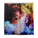 alaza Cortina de Ducha Espacio Lobo Galaxy 72 x 72 Pulgadas, Resistente al Moho y Resistente al...