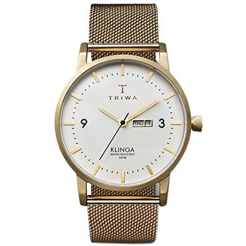 Triwa Unisex Erwachsene Datum klassisch Quarz Uhr mit Leder Armband KLST103-ME021313