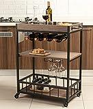 Tayene Bar Serving Cart Home Myra Rustic Mobile Kitchen Serving cart,Industrial Vintage Style Wood Metal Serving Trolley (Walnut-A)