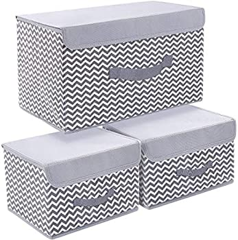 DIMJ Storage Bins with Lids 3 Packs Storage Bins for Closet Shelves Home Foldable Cloth Storage Organizer with Reinforced Handle  Multi