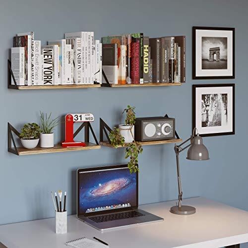 Wallniture Minori Floating Shelves Set of 4, Small Bookshelf Unit for Bedroom, Office, Bathroom, and Living Room, Natural Burned Rustic Wood Wall Decor with Metal Floating Shelf Bracket