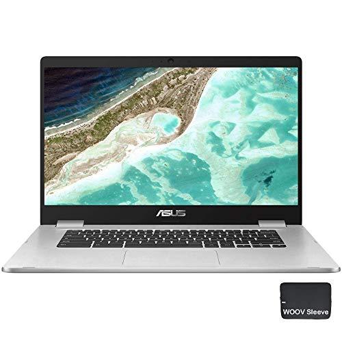 ASUS 15,6 Zoll C523NA Chromebook – Intel Celeron N3350 – 1080p Modell C523NA-IH44F, 4GB DDR4 RAM, 64GB eMMC, Bundle mit Woov Zubehör Chrome OS