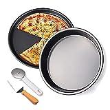 HYCy Sartén para Pizza Antiadherente de Acero al Carbono, 2 Piezas de Cacerola para Pizza con Cortador de Pizza, Juego de Servidor, para Cocina, Pasteles, Galletas, Hornear, Pizza