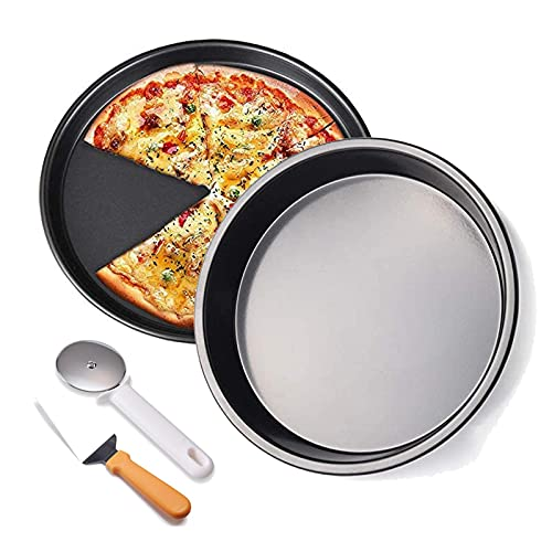 HYCy Carbon Steel Non-Stick Pizza Pan, 2 Pieces Pizza Crisper Set with Pizza Cutter Wheel Server Set, for Kitchen Cake Cookies Baking Pizza Pan