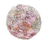 8-Inch Custom ramo de novia, novia ramo de flores, broche, de boda rosa y diamantes Pearl joyería hecha de cintas