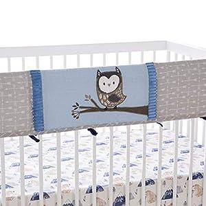 Levtex Baby – Rowan Rail Guard- Owl – Navy, Blue, Grey and White – Nursery Accessories – Fits Long Side of Crib