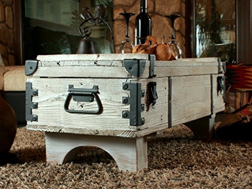 Alte Truhe Kiste Tisch shabby chic Holz Beistelltisch Holztruhe Couchtisch 39 cm Höhe / 41 cm Tiefe / 97 cm Breite - 2