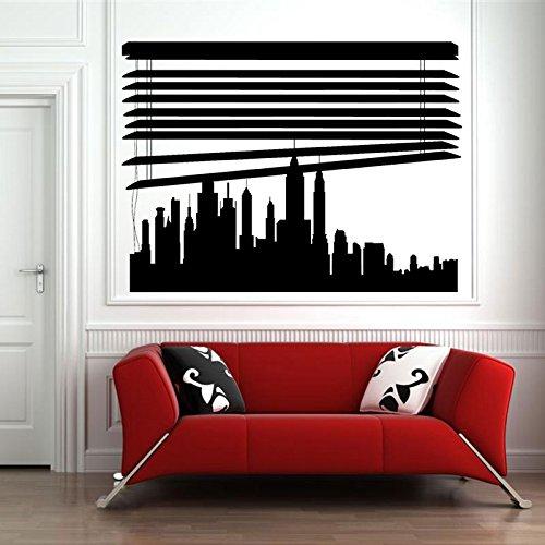 BailongXiao Maßgeschneiderte Skyline unter Jalousien Stadt Wandaufkleber Vinyl Home Decoration entfernbares Wandbild Wandaufkleber Innendekoration 85x63cm