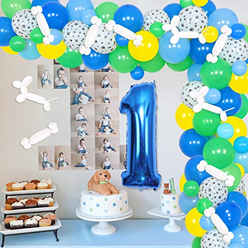 Paw 1st Birthday Party Decoraciones Paw Patrol Globo Garland para cachorro Paw Paw Dog Theme Party Dog Suministros de fiesta de cumpleaños azul verde amarillo globo número 1 Foil Balloon