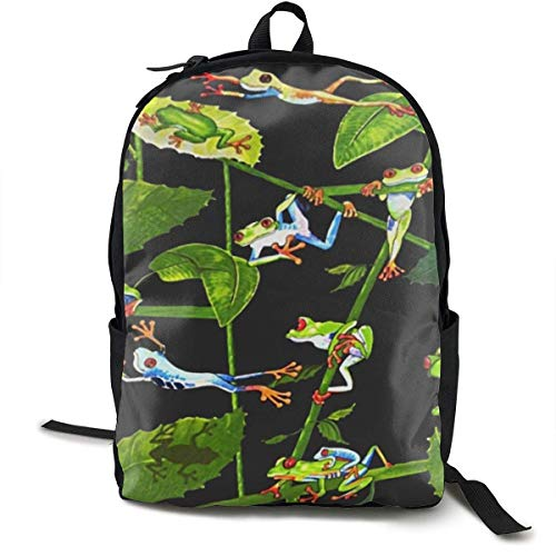 Frog World Travel Computer Bag Laptop Backpack Unisex, School College Fits 15'' Laptop