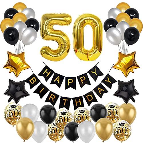 Decoración de cumpleaños de color negro y dorado, globos negros, globos dorados, 30 hombres y mujeres, decoración para 50 cumpleaños, globos para fiestas, confeti, globos