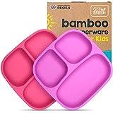 GET FRESH Bambus Kinder Geteilte Teller - 2 Stück Wiederverwendbares Bambus Geteilte Kindergeschirr Set - BPA frei Bambusfaser Kindergerichte Teller - Pink/Violett Bamboo Kids Divided Plates