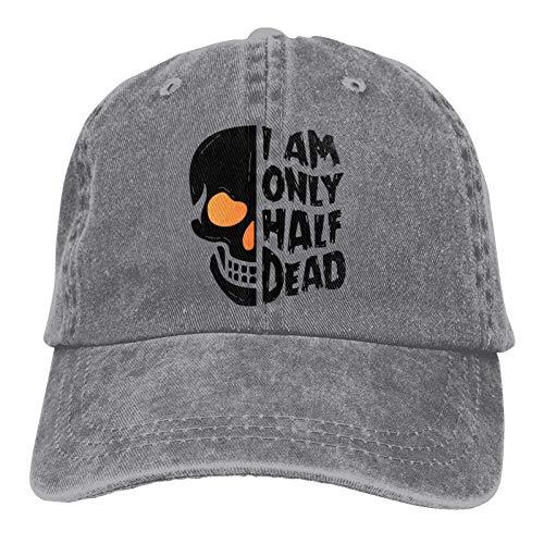 qimingshajinzhubaoshangxing Gorra Halloween Half Dead Skull Unisex Adulto Ajustable Cowboys Sombreros Béisbol Fun Casqueta