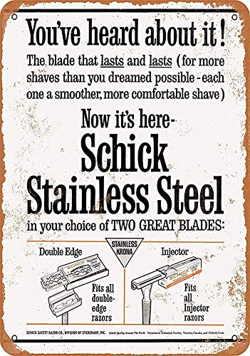 DKISEE Great Tin Sign Aluminum 1963 Schick Stainless Steel Razor Blades, Wall...