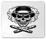 Pc Gaming-Mousepad,Maus Mat,Office Mousepad,Skull Smoking Mouse Pad, Skelettkopf Mit Vintage Fedora-Hut Und Gekreuzten Kubanischen Zigarren, Rutschfestes Gummi-Mousepad Mit Rechteck